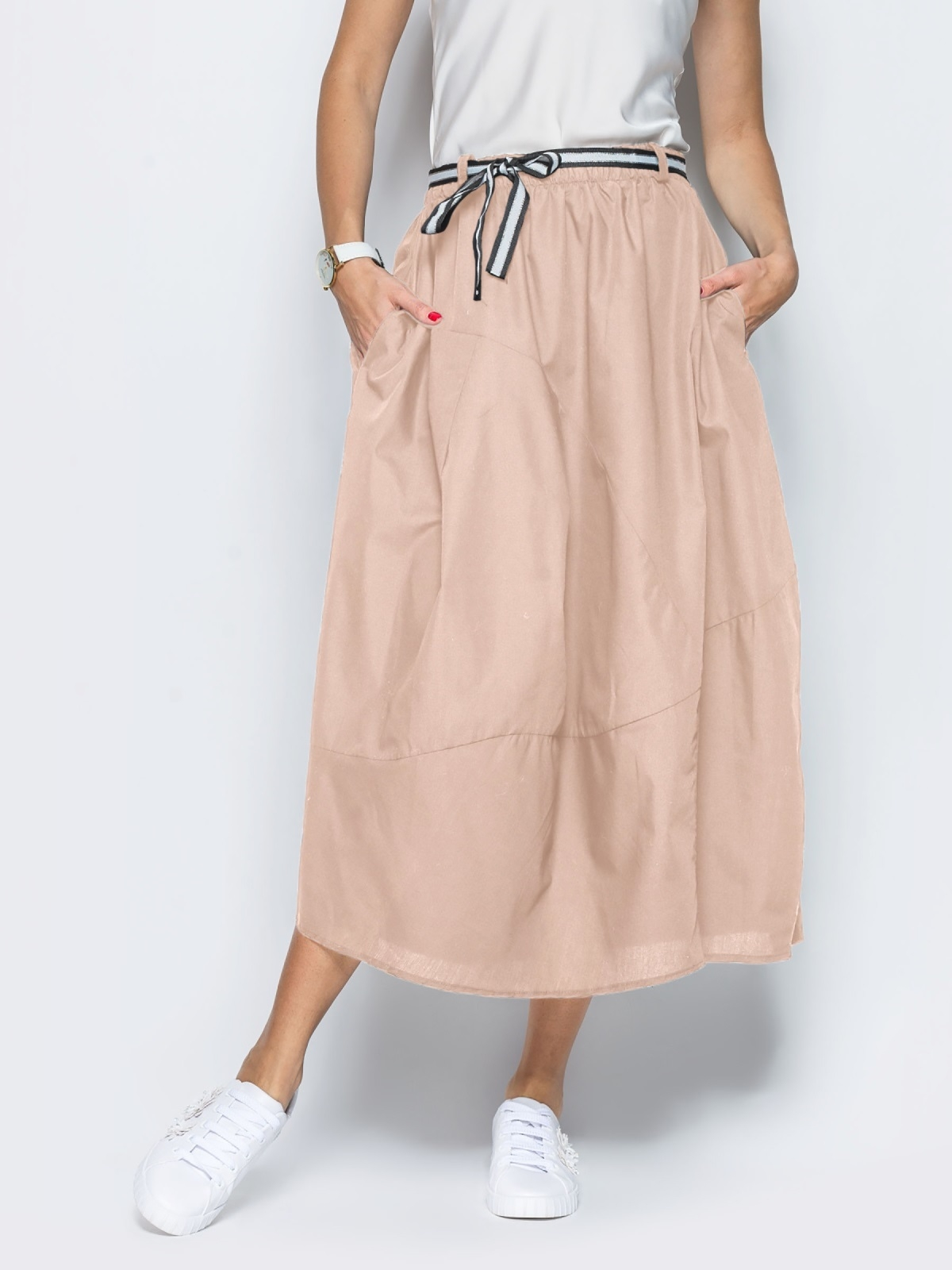 Льняная юбка бежевого цвета с карманами 39381, фото 1