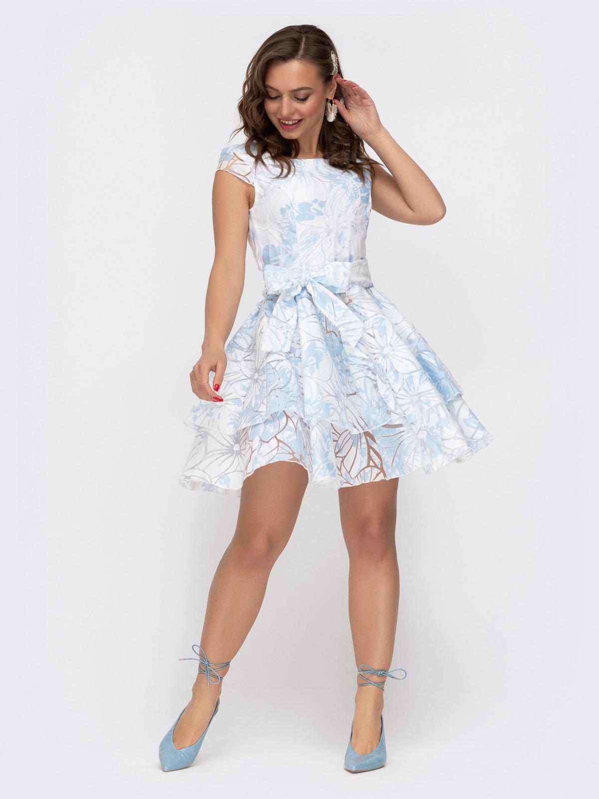 Расклешенное платье с принтом и двуслойной юбкой голубое 47457, фото 1