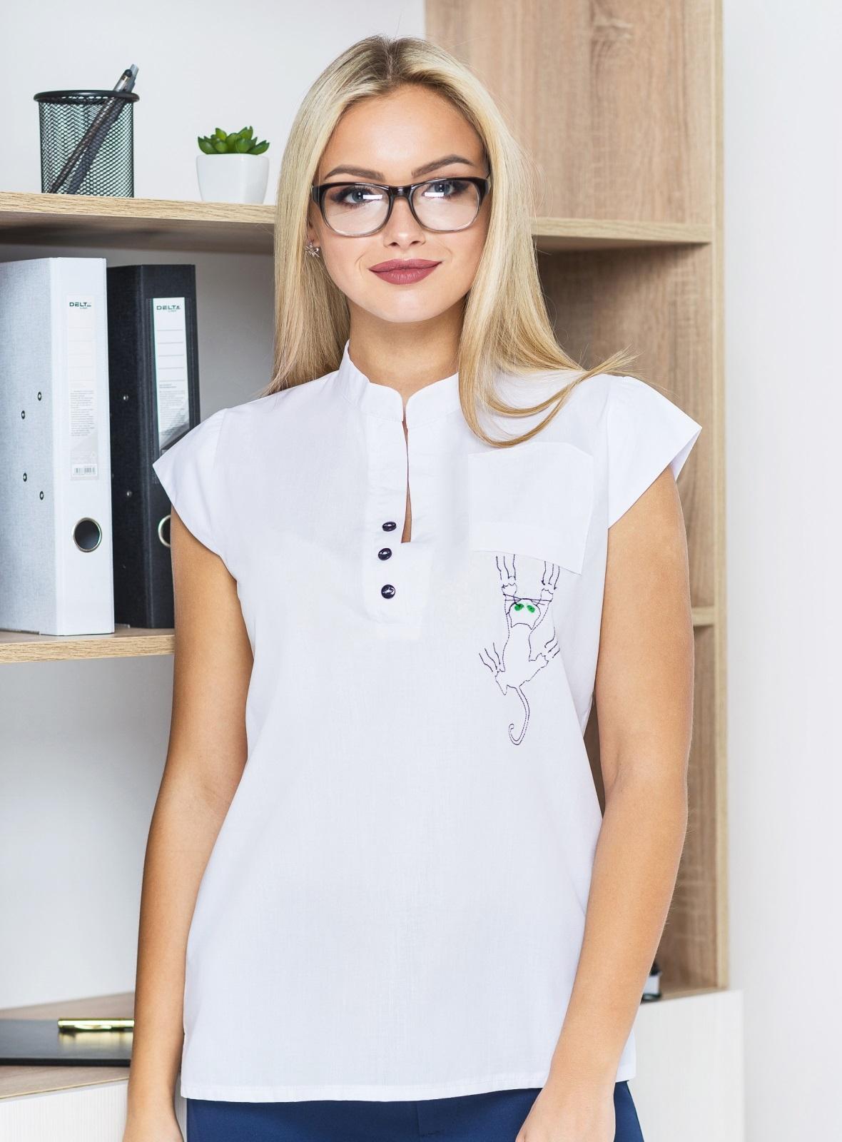 Блузка с рукавом-крылышко и перевернутым карманом 14136, фото 1