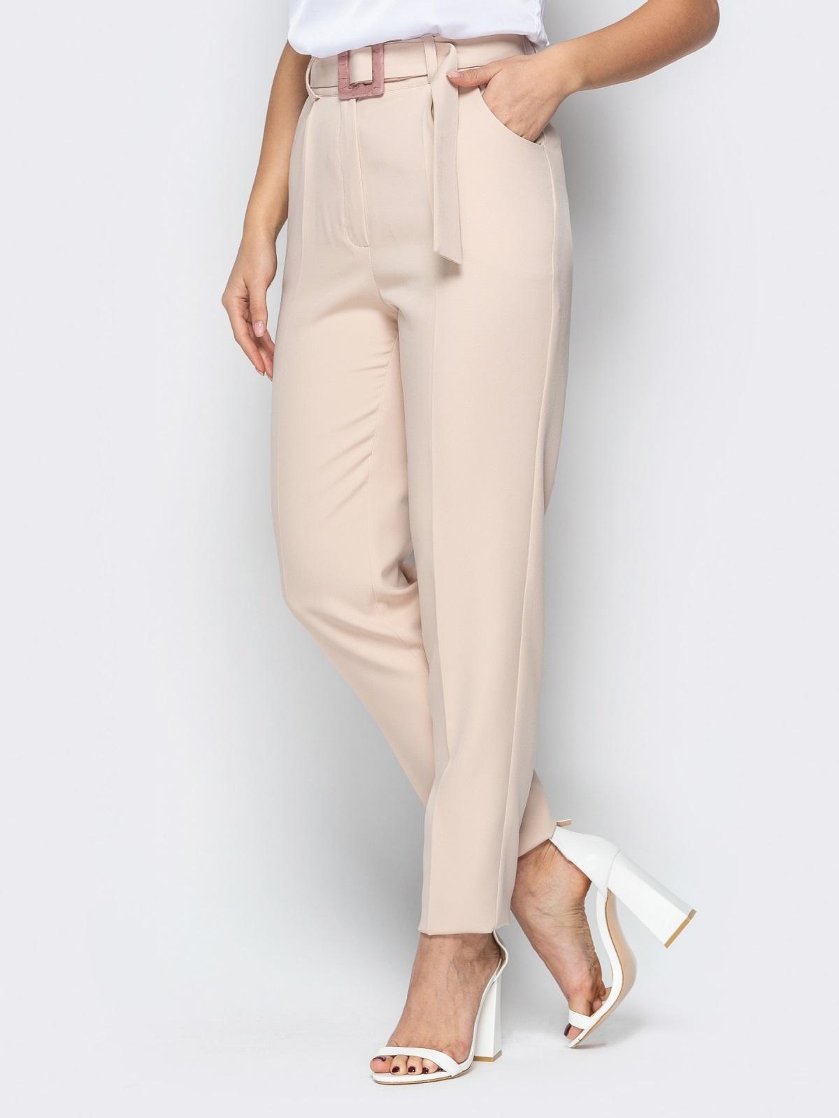 Прямые брюки с завышеной талией и карманами бежевые 20585, фото 1