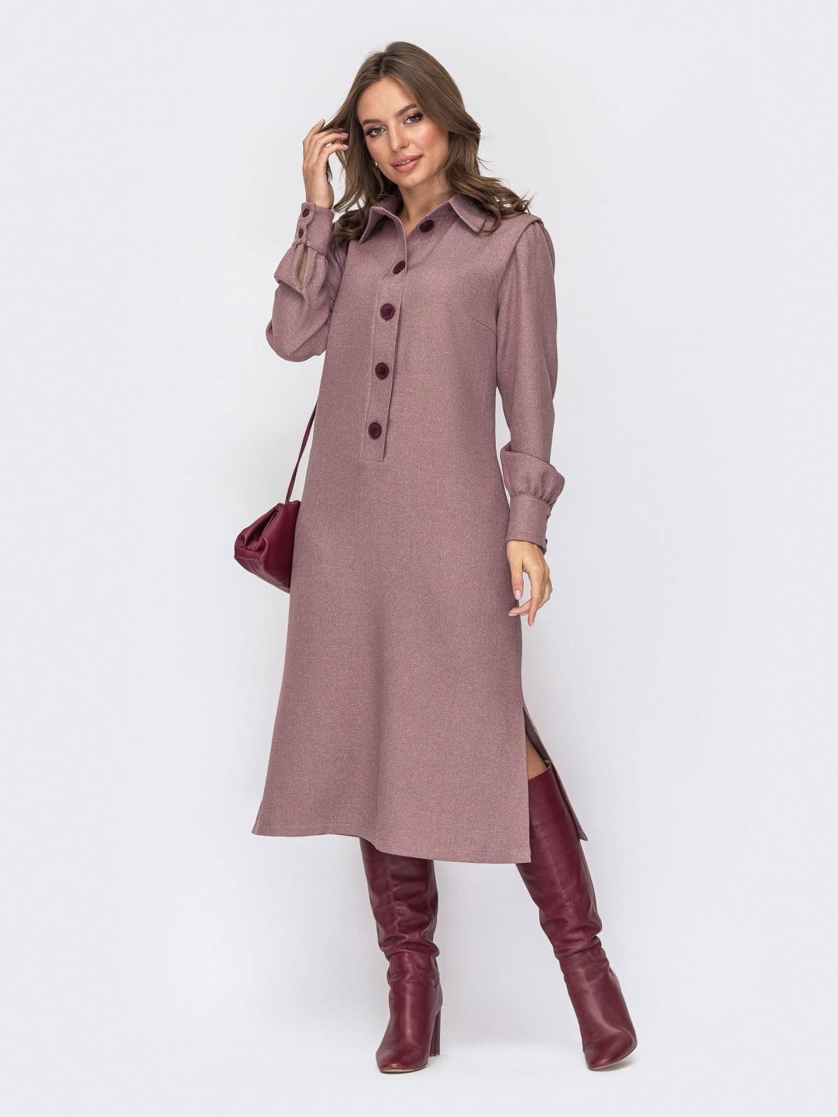 Пудровое платье-рубашка с разрезами по бокам 51795, фото 1