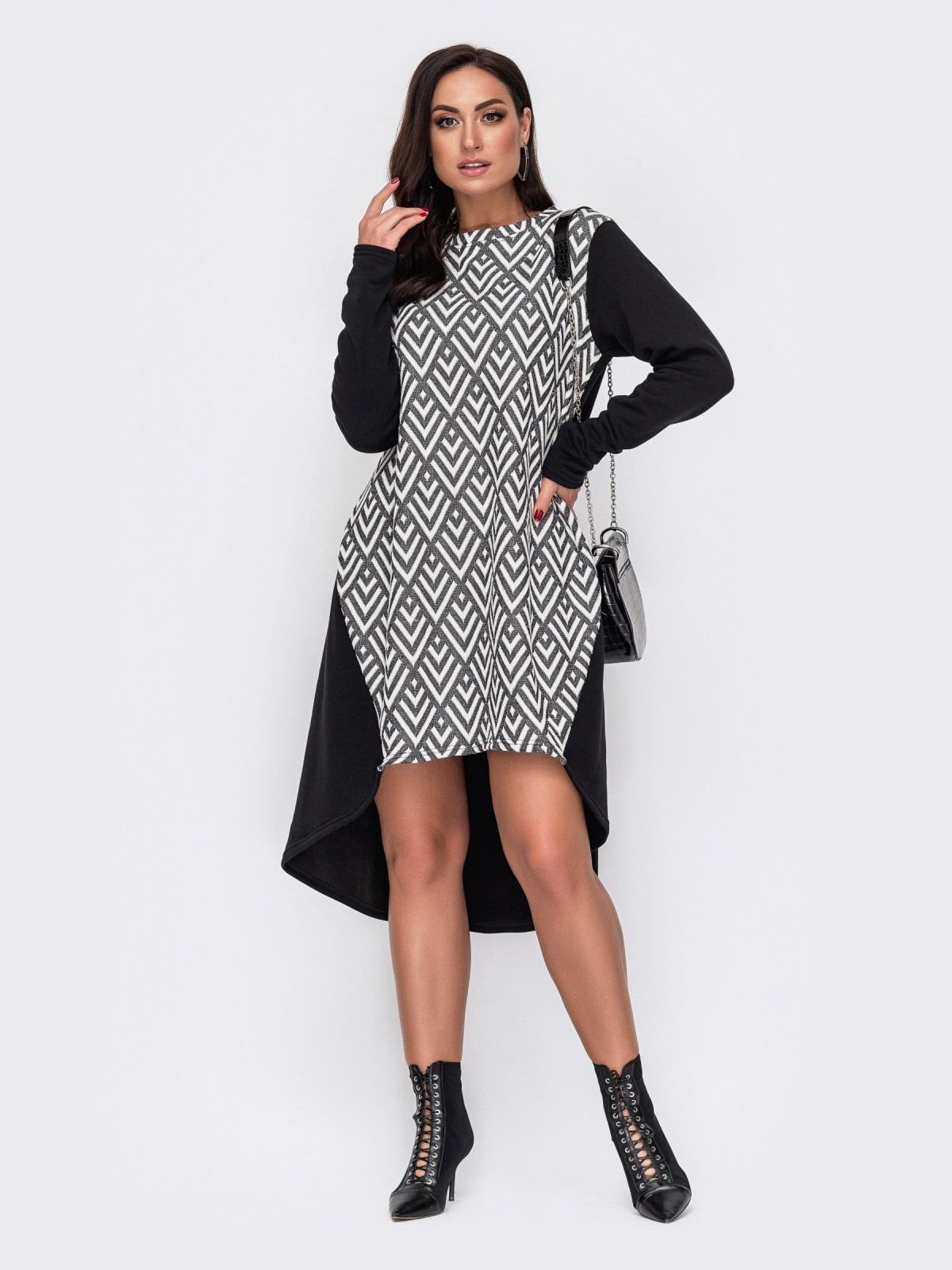 Черное платье батал с принтом и удлиненной спинкой 51601, фото 1