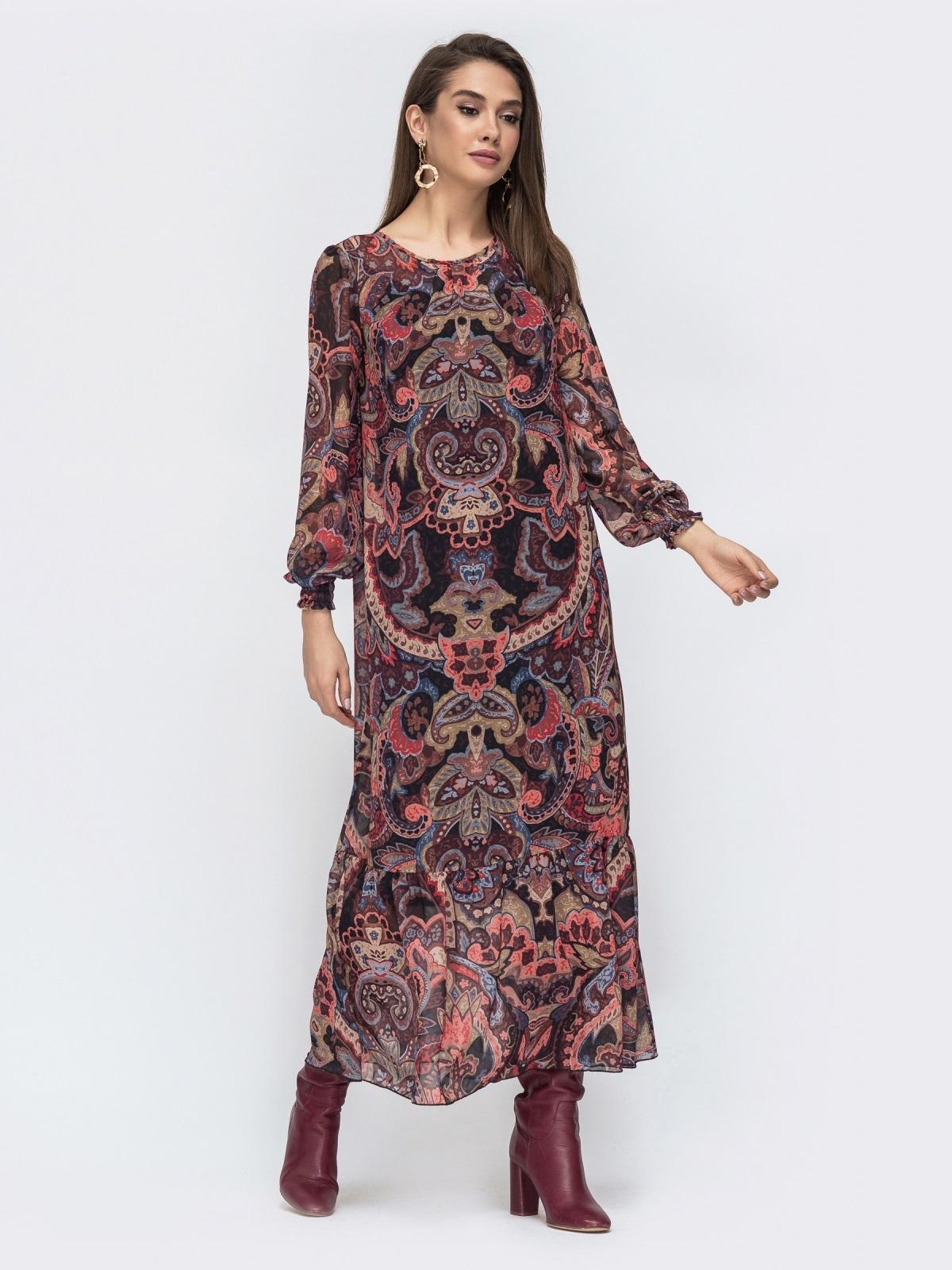 Длинное платье из шифона с принтом бордовое 45076, фото 1