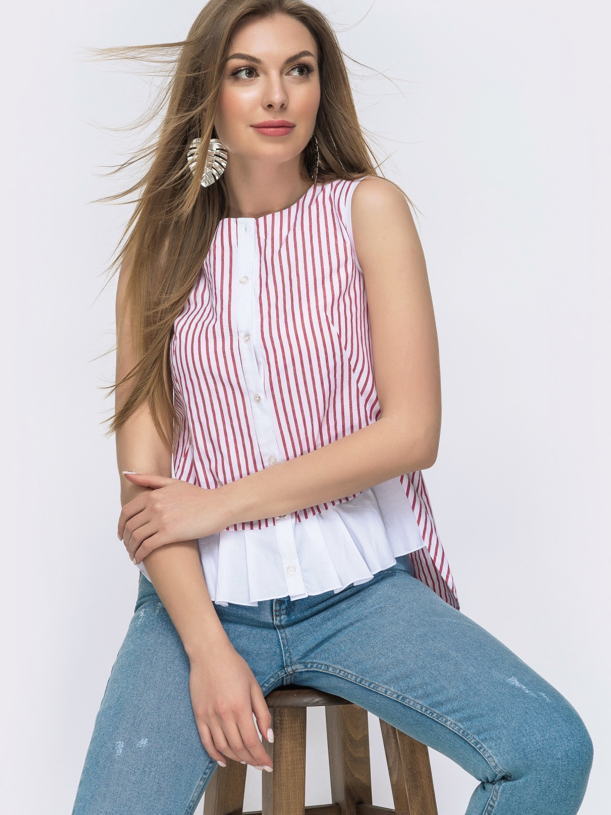 Хлопковая рубашка в полоску с удлинённой спинкой красная 47469, фото 1