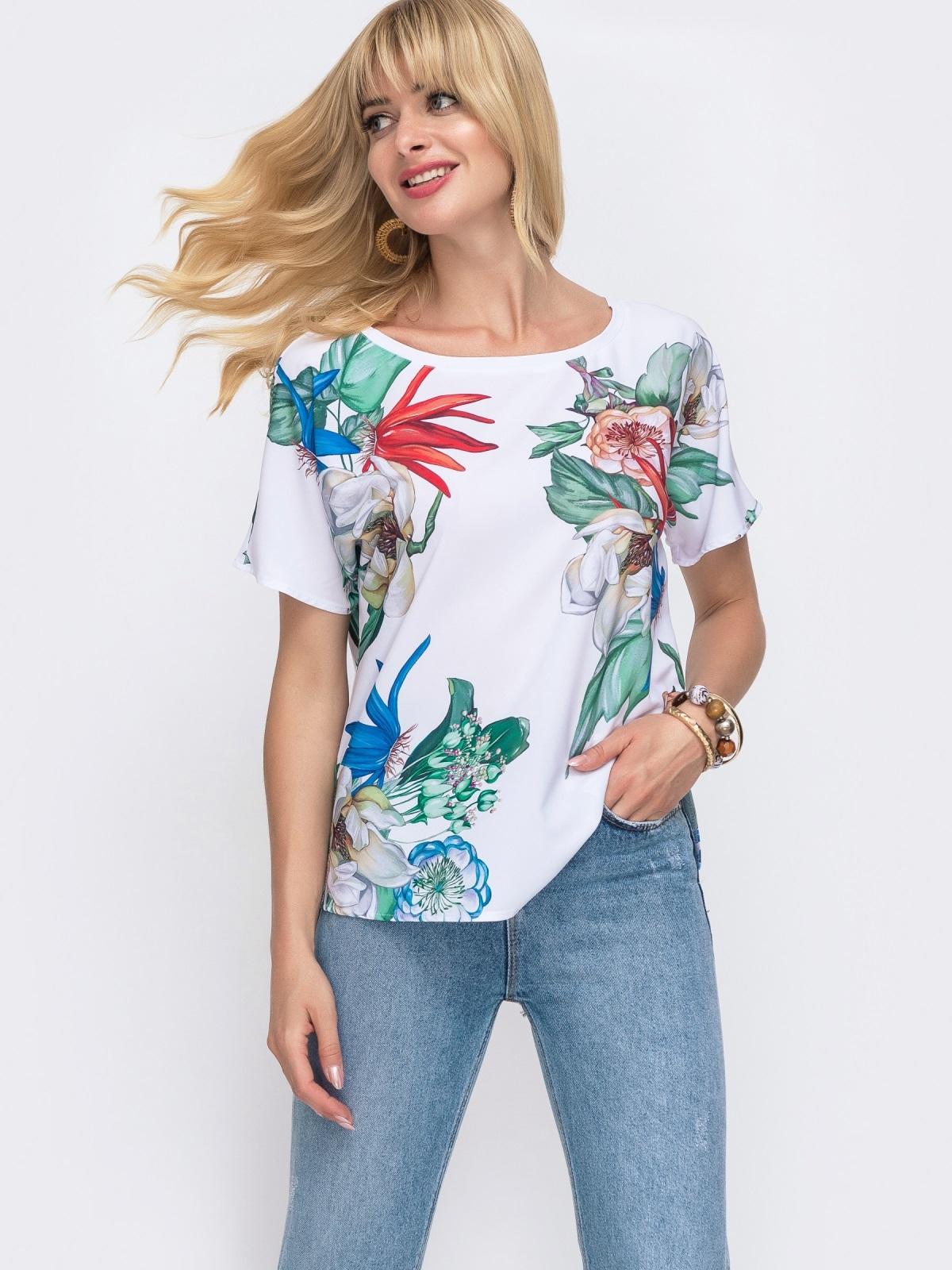 Белая блузка свободного кроя с принтом 49318, фото 1