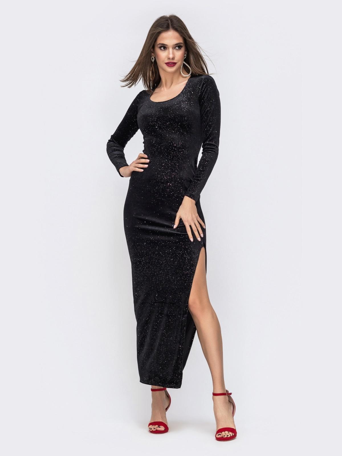 Бархатное платье-макси с напылением и разрезом чёрное 42816, фото 1