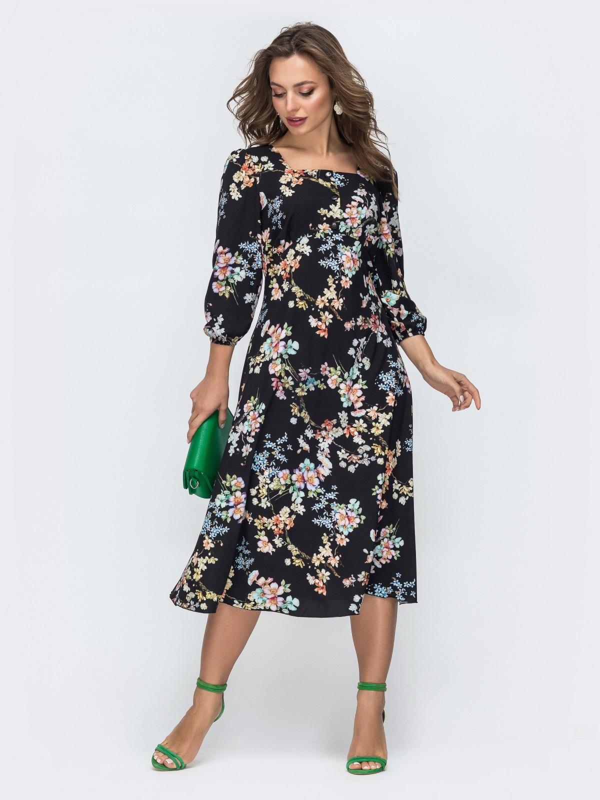 Чёрное платье из софта с принтом и отрезным лифом 45845, фото 1
