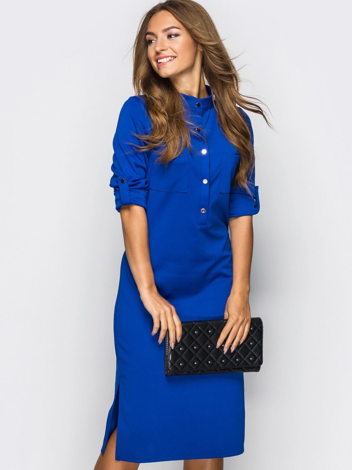 Платье полуприталенного кроя с функциональными шлевками синее 13435, фото 1