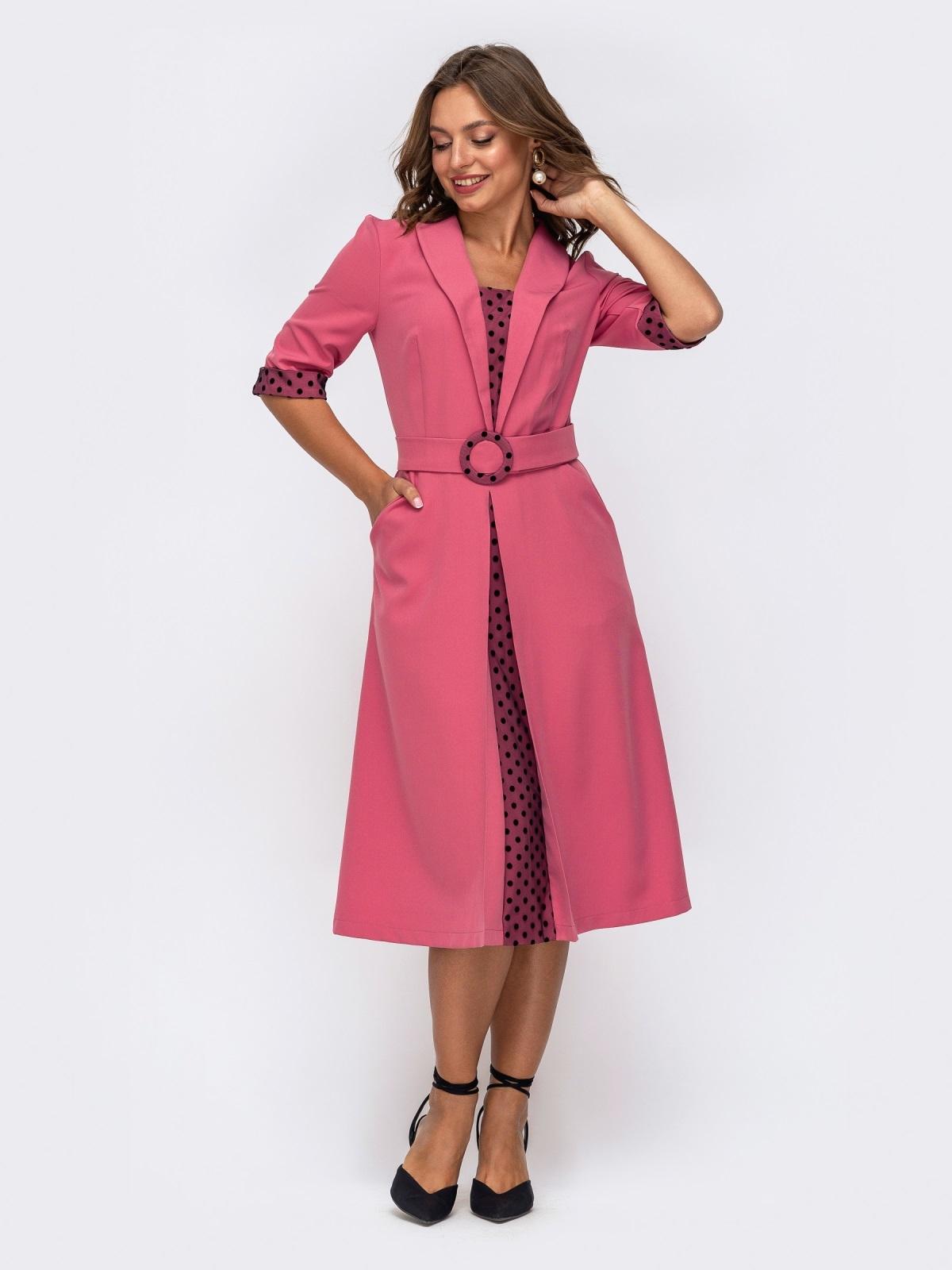 Розовоеплатьесовставкамивгорохирасклешеннойюбкой 50163, фото 1