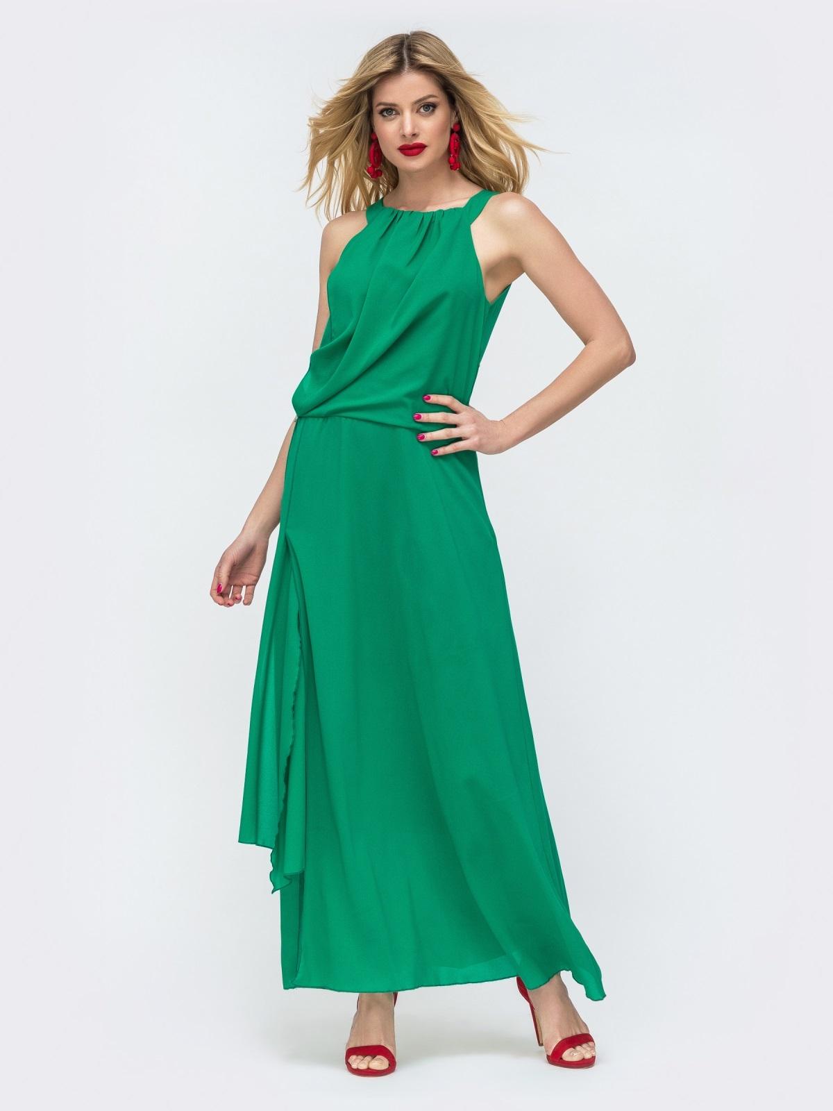 Зеленое платье-макси с американской проймой и разрезами по бокам 46717, фото 1