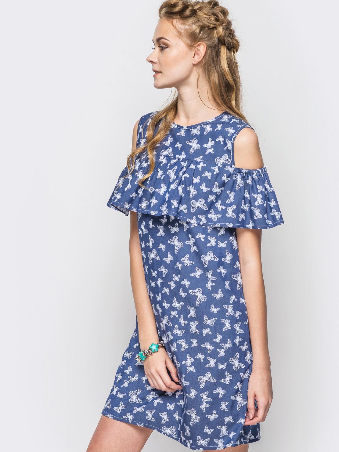 Летнее платье с открытыми плечами в принт 12602, фото 1