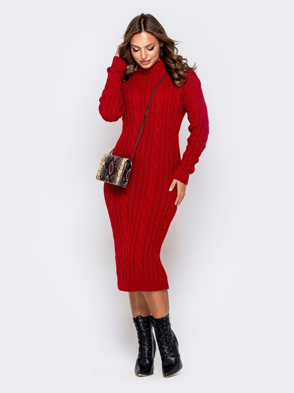 Обтягивающее платье с косами и воротником-стойкой красное 41199, фото 1