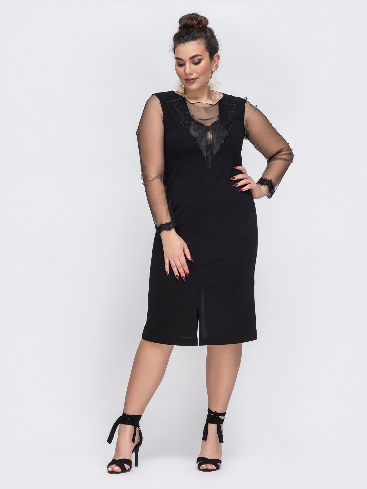 Чёрное платье батал со вставками из сетки 43779, фото 1