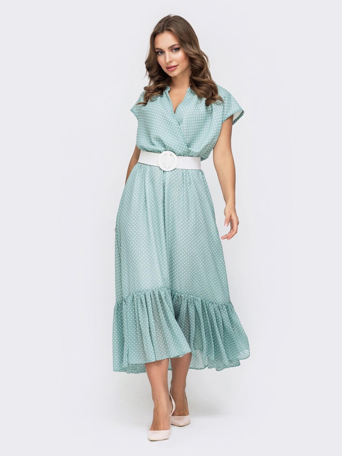 Голубое платье из шифона в горох 45925, фото 1