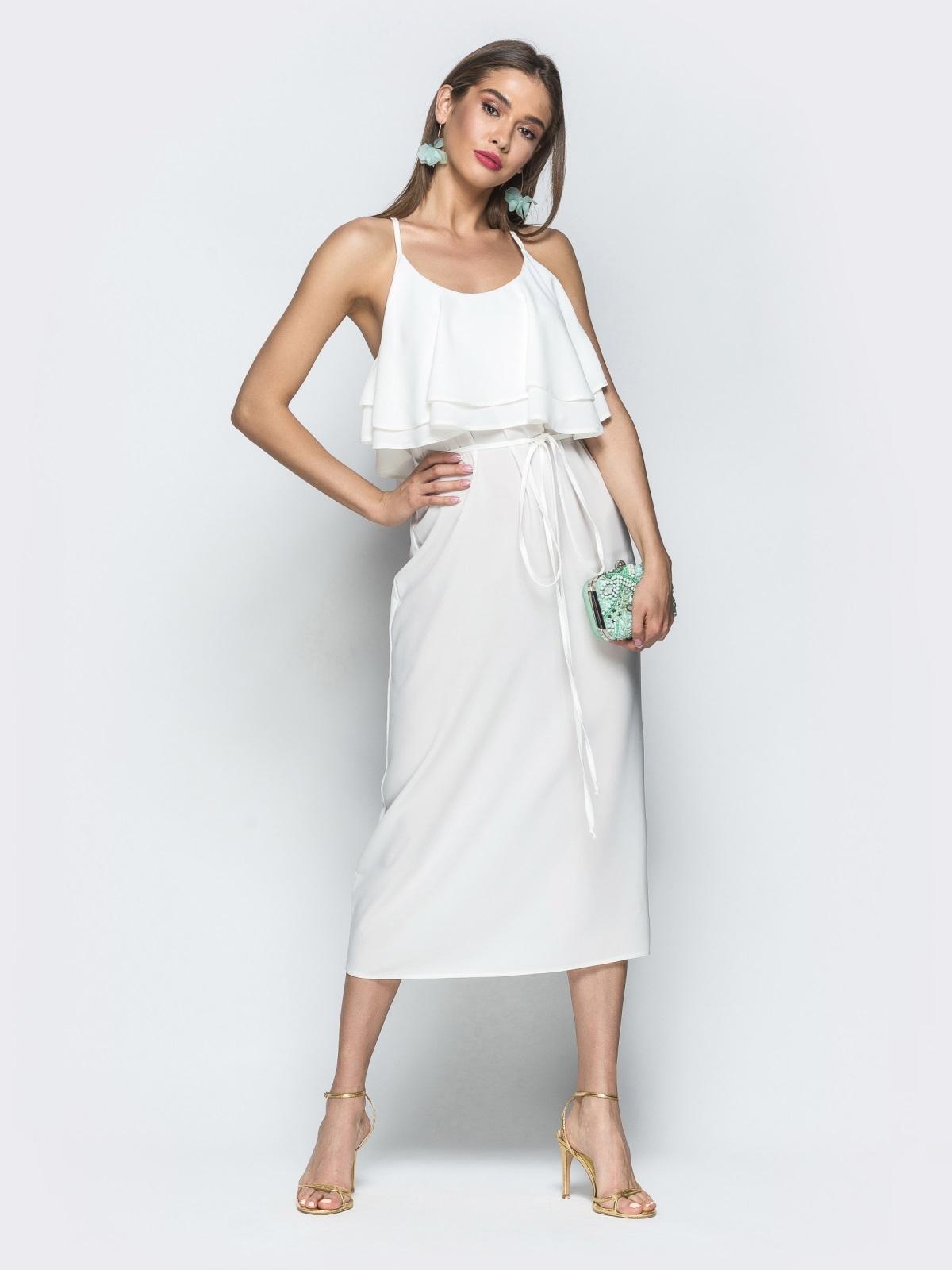 Белое платье на бретелях с воланом по верху 39387, фото 1