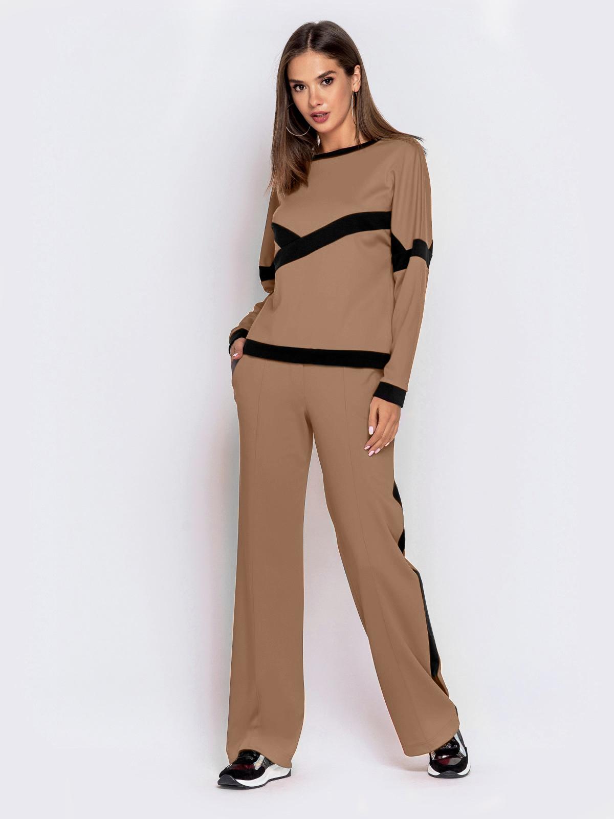 Спортивный костюм из кофты и брюк коричневый 50152, фото 1