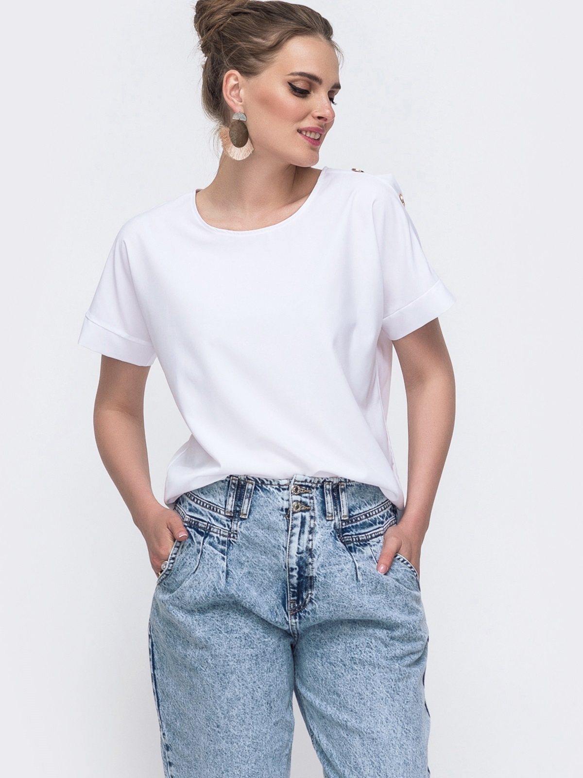 Белая блузка свободного кроя 48217, фото 1