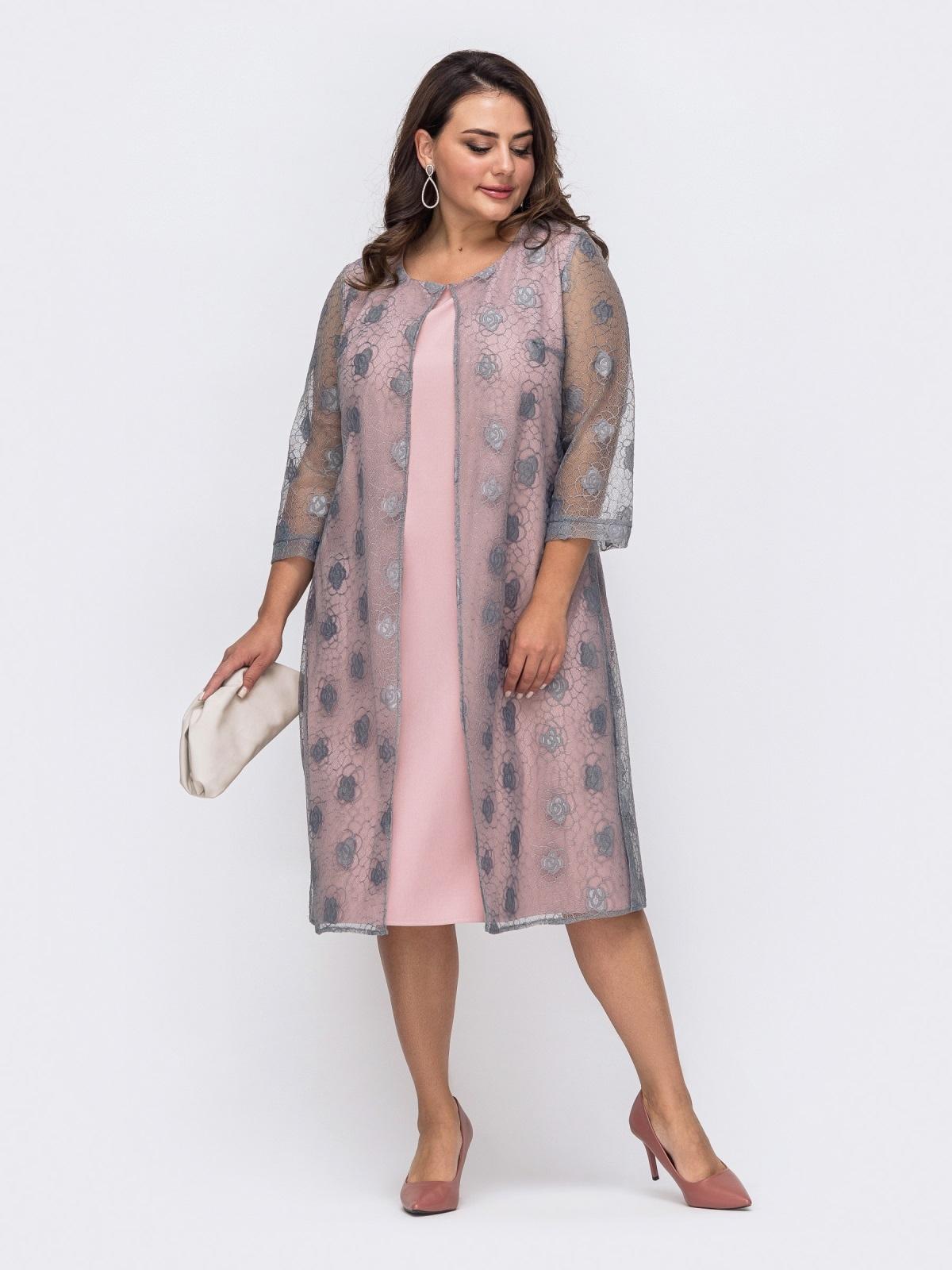 Вечернее платье батал с гипюровой накидкой серое 51486, фото 1