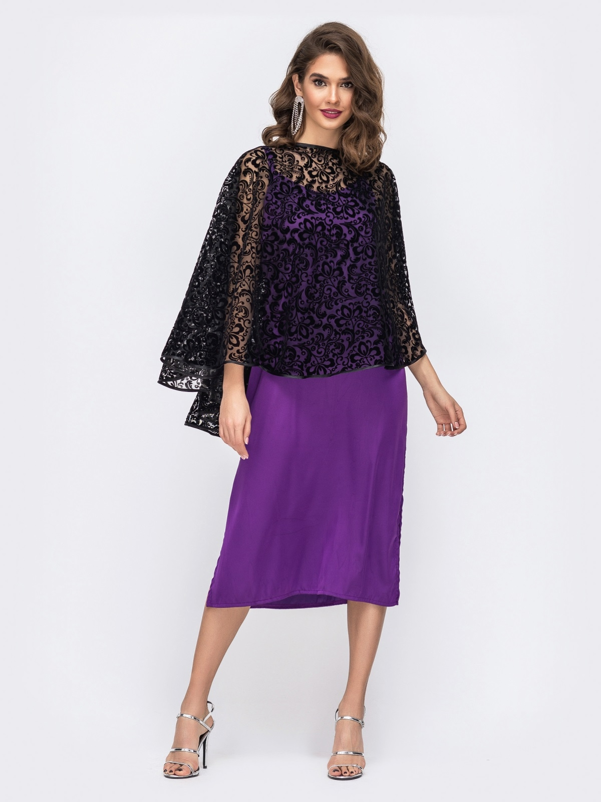 Комплект из платья и гипюровой накидки фиолетовый 42672, фото 1