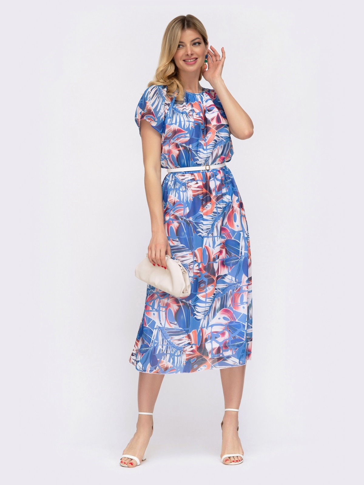 Платье с принтом и вафельной резинкой по талии голубое 48036, фото 1