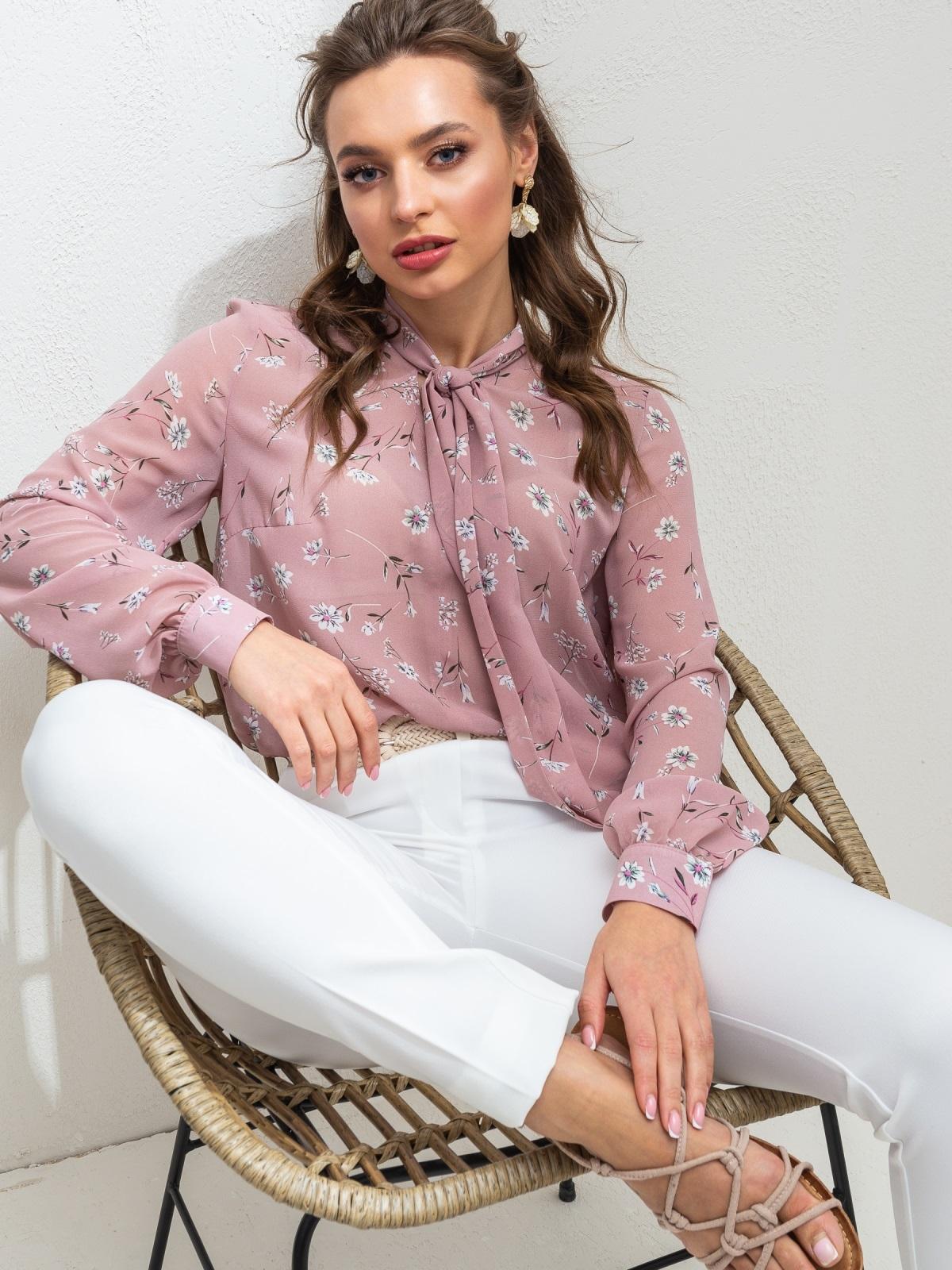 Пудровую блузка с цветочным принтом и воротником-аскот 46892, фото 1