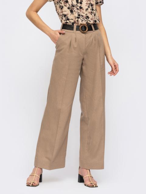 Бежевые широкие брюки с защипами по переду 53907, фото 1