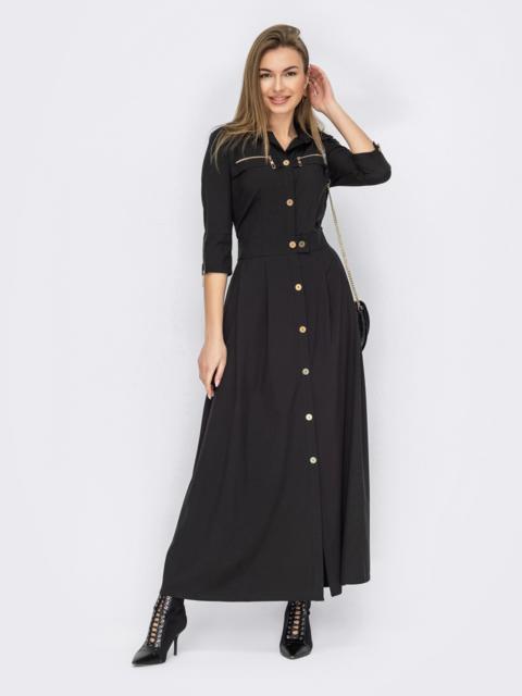 Черное платье-рубашка на пуговицах 53157, фото 1