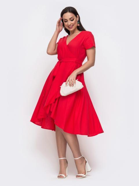 Красное платье на запах большого размера 46350, фото 1