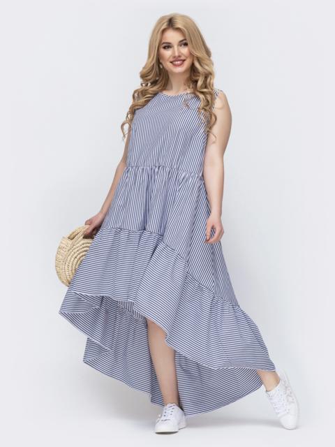 Платье батал в полоску с удлиненной спинкой голубое 46357, фото 1
