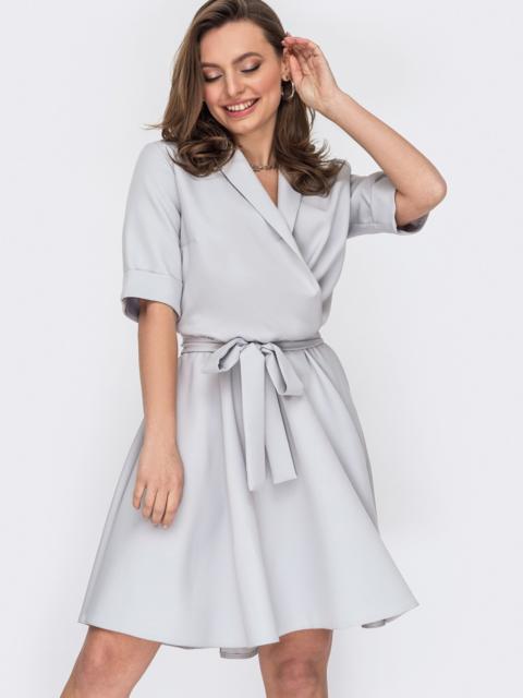 Платье серого цвета с юбкой-клеш 53156, фото 1