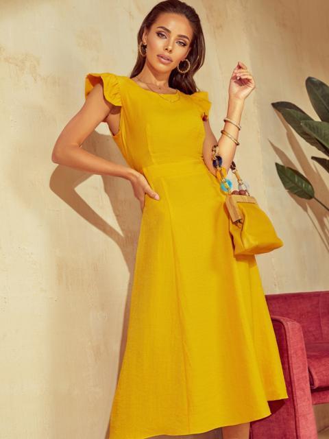 """Желтое платье с вырезом по спинке и рукавом """"крылышко"""" 48198, фото 1"""