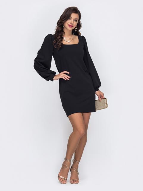 Приталенное платье с квадратным вырезом цвета черное 52047, фото 1