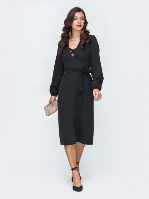 Приталенное платье с разрезом спереди черное 52046, фото 1