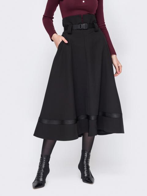 Черная юбка-клеш с высокой талией 52891, фото 1