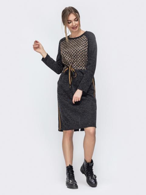 Трикотажное платье с баской по талии графитовое 45767, фото 1