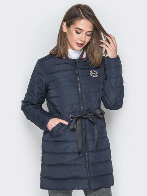 Удлиненная куртка-бомбер с кулиской на талии синяя 20249, фото 1