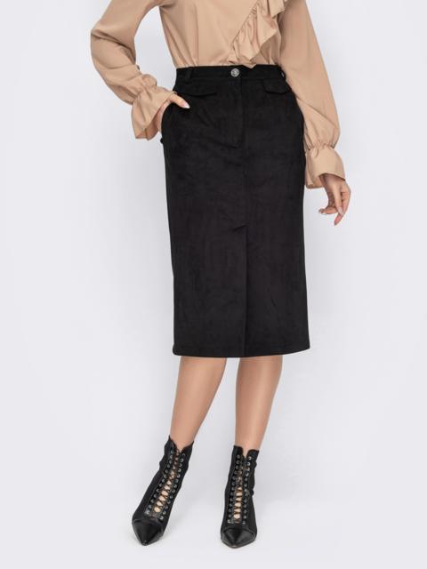 Замшевая юбка-карандаш со шлицей спереди черная 53128, фото 1
