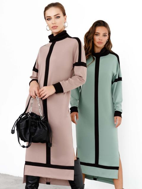 Бежевое платье с воротником-стойкой и контрастными вставками 52462, фото 1