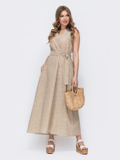 Бежевое платье свободного кроя с цветочным принтом 47055, фото 1