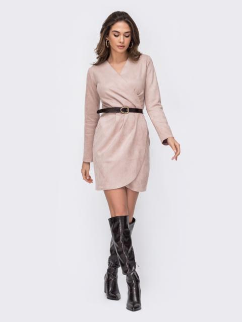Платье цвета пудры из замшевой ткани 52675, фото 1