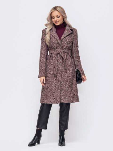 Приталенное пальто из букле розовое 50855, фото 1
