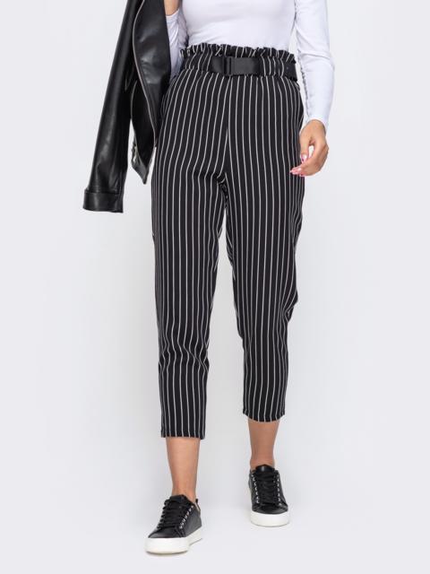 Зауженные брюки чёрного цвета в узкую полосу 50368, фото 1