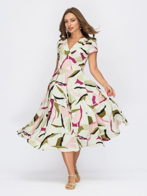 Зеленое платье на запах с абстрактным принтом 53932, фото 1