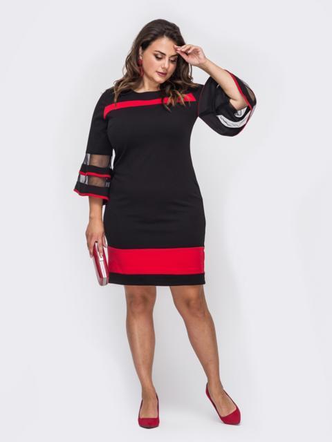 Чёрное платье большого размера с рукавам-колоколом 50742, фото 1