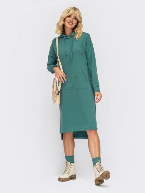 Платье-худи мятного цвета с удлиненной спинкой 55095, фото 1