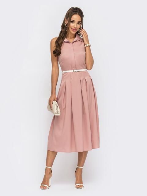 Расклешенное платье с американской проймой розовое 53991, фото 1