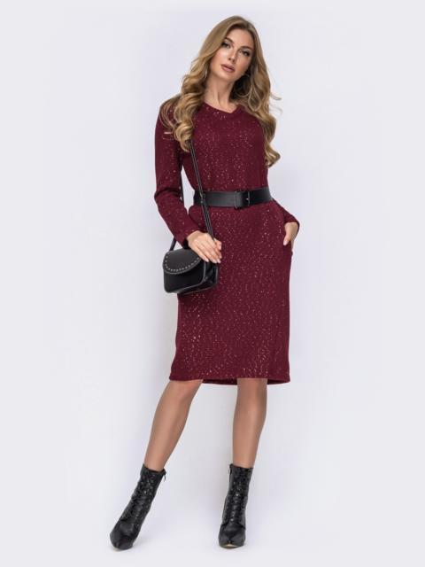 Бордовое платье из вязаного трикотажа с россыпью золотых пайеток 42362, фото 1