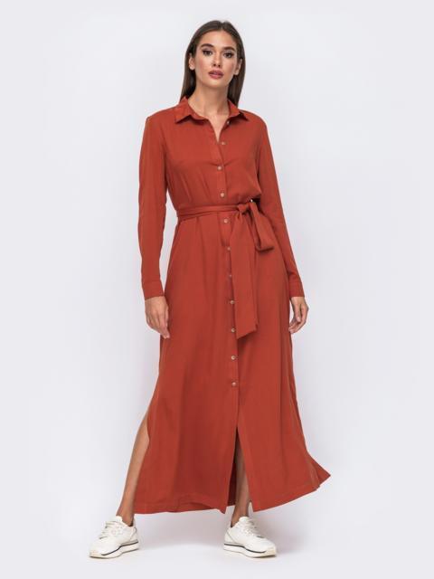 Платье-рубашка терракотового цвета с высокими разрезами по бокам 50104, фото 1