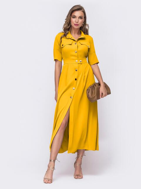 Платье-рубашка желтого цвета на кнопках 54112, фото 1
