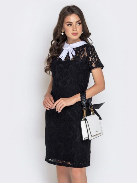Приталенное платье из гипюра с контрастным воротником черное 40592, фото 1
